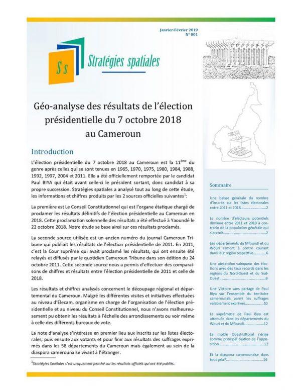 Illustration_Stratégies spatiales n°1_Géo-analyse des résultats de l'élection présidentielle du 7 octobre 2018 au Cameroun