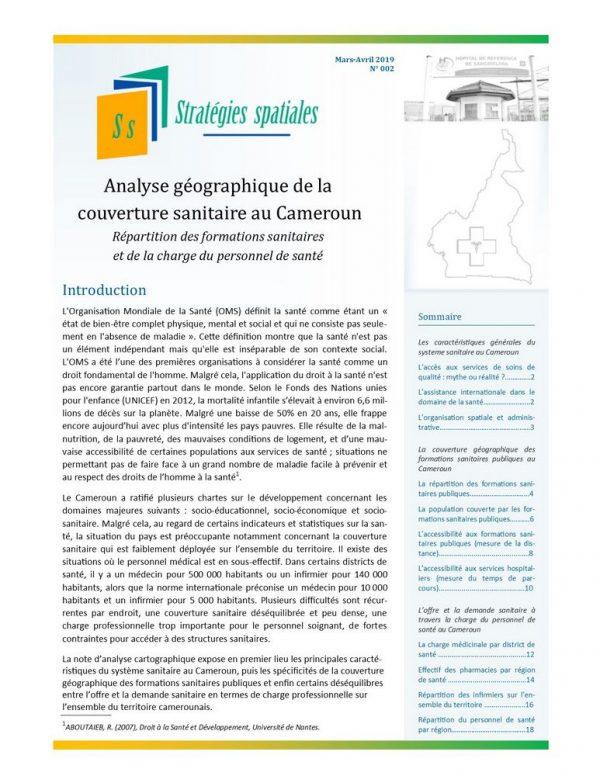 Illustration_Stratégies spatiales n°2_Analyse géographique de la couverture sanitaire au Cameroun