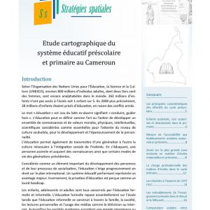 Illustration_Stratégies spatiales n°3_Étude cartographique du système préscolaire et primaire au Cameroun