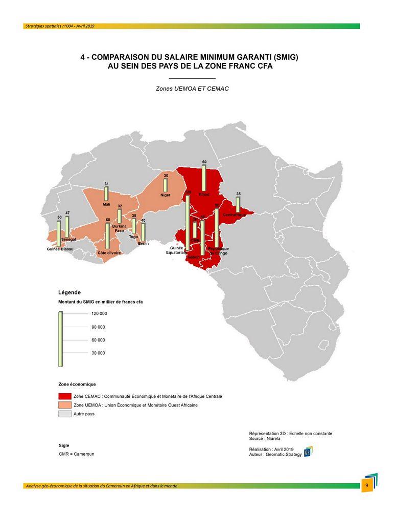Illustration_Stratégies spatiales n°4_COMPARAISON DU SALAIRE MINIMUM GRARANTI (SMIG) AU SIEN DES PAYS DE LA ZONE FRANC CFA