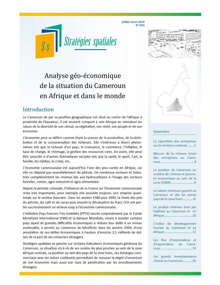 Illustration_Stratégies spatiales n°3_Analyse géo-économique de la situation du Cameroun en Afrique et dans le monde