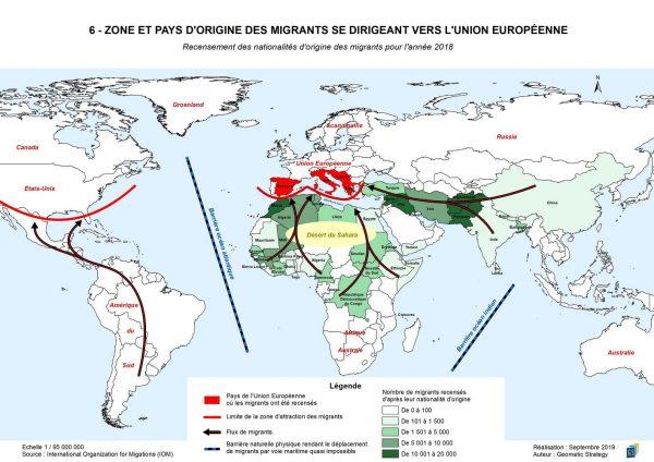Illustration Stratégies spatiales n°5 - ZONE ET PAYS D'ORIGINE DES MIGRANTS SE DIRIGEANT VERS L'UNION EUROPÉENNE