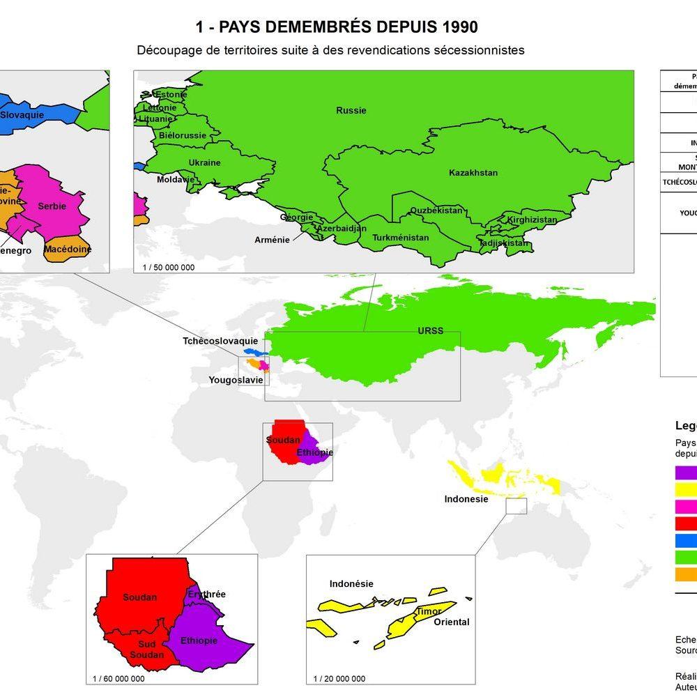 1 - PAYS DEMEMBRES DEPUIS 1990 _ Découpage de territoires suite à des revendications secessionnistes