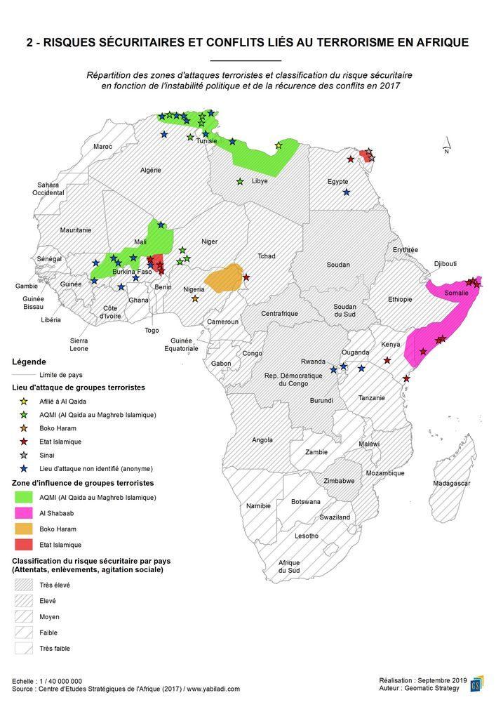 2 - RISQUES SECURITAIRES ET CONFLITS LIES AU TERRORISME EN AFRIQUE _ Répartition des zones d'attaques terroristes et classification du risque sécuritaire en 2017