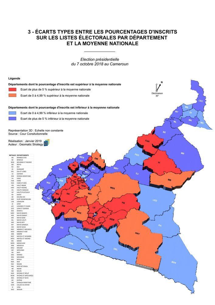 3_ECARTS TYPES ENTRE LES POURCENTAGES D'INSCRITS SUR LES LISTES ELECTORALES PAR DEPARTEMENT ET LA MOYENNE NATIONALE _ Election présidentielle du 7 octobre 2018 au Cameroun
