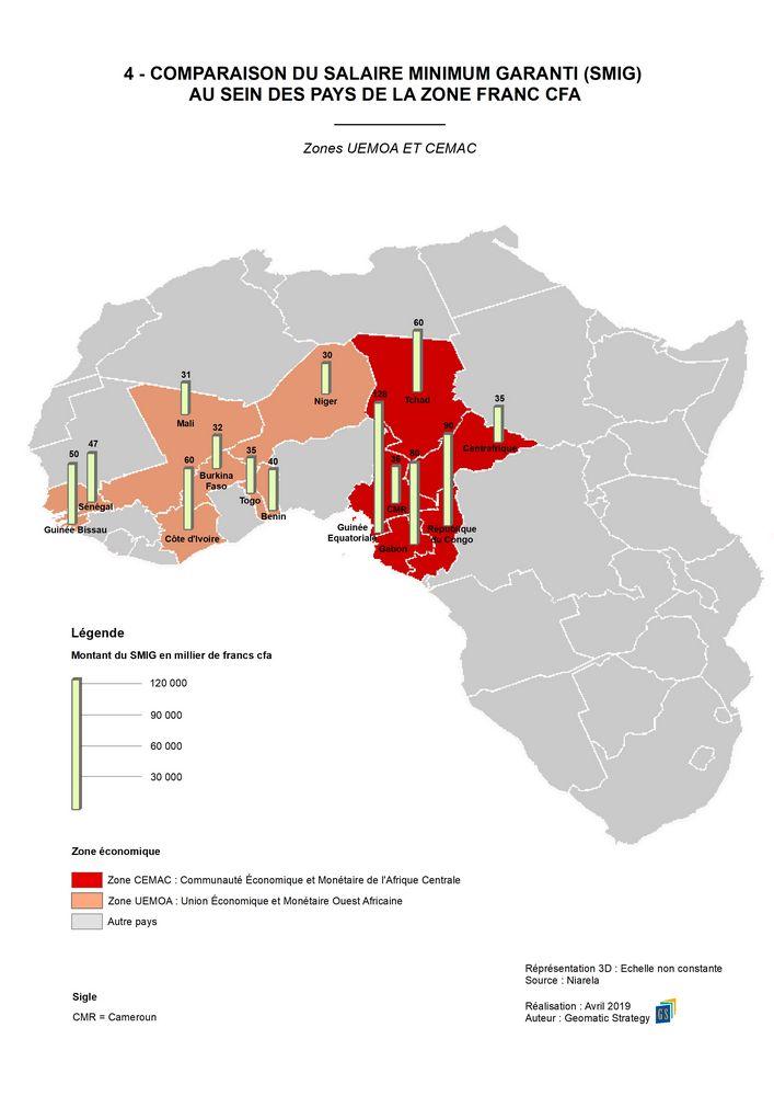 4 - COMPARAISON DU SALAIRE MINIMUM GARANTI (SMIG) AU SEIN DES PAYS DE LA ZONE FRANC CFA _ Zone UEMOA et CEMAC
