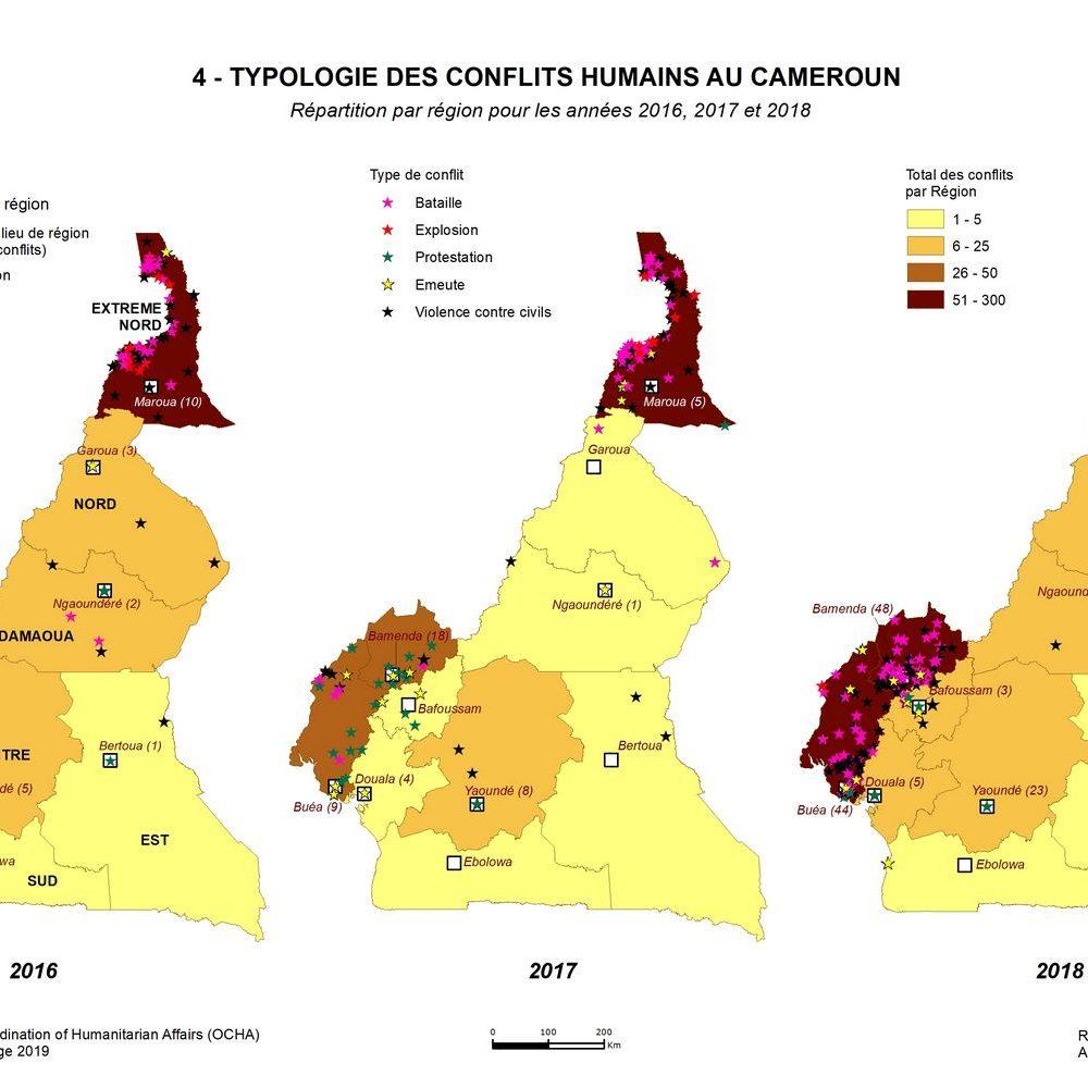 4 - TYPOLOGIE DES CONFLITS AU CAMEROUN _ Répartition par région pour les années 2016, 2017 et 2018