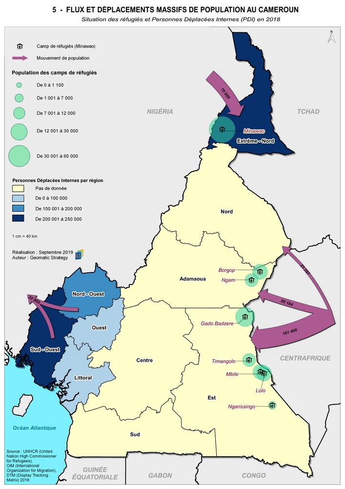 5 - FLUX ET DÉPLACEMENTS MASSIFS DE POPULATION AU CAMEROUN _ Situation des réfugiés et Personnes Déplacées Internes (PDI) en 2018