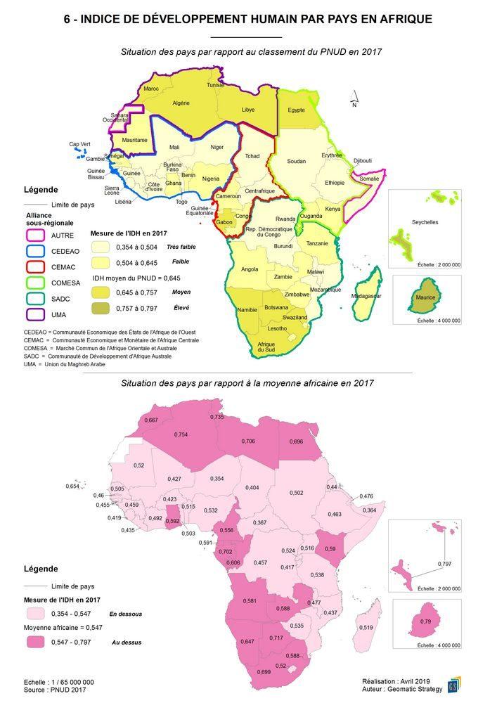 6 - INDICE DE DÉVELOPPEMENT HUMAIN PAR PAYS EN AFRIQUE _ Situation des pays par rapport au classement du PNUD en 2017