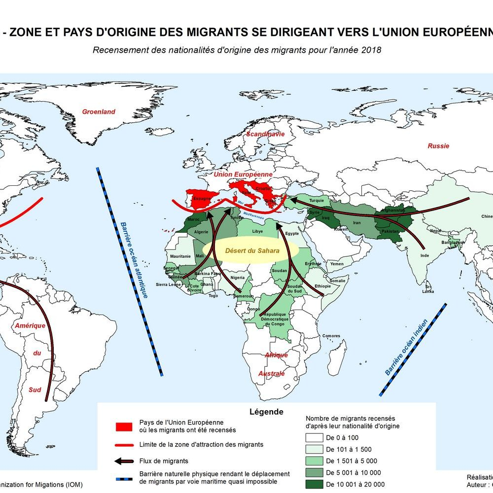 6 - ZONE ET PAYS D'ORIGINE DES MIGRANTS SE DIRIGEANT VERS L'UNION EUROPÉENNE _ Recensement des nationalités d'origine des migrants pour l'année 2018