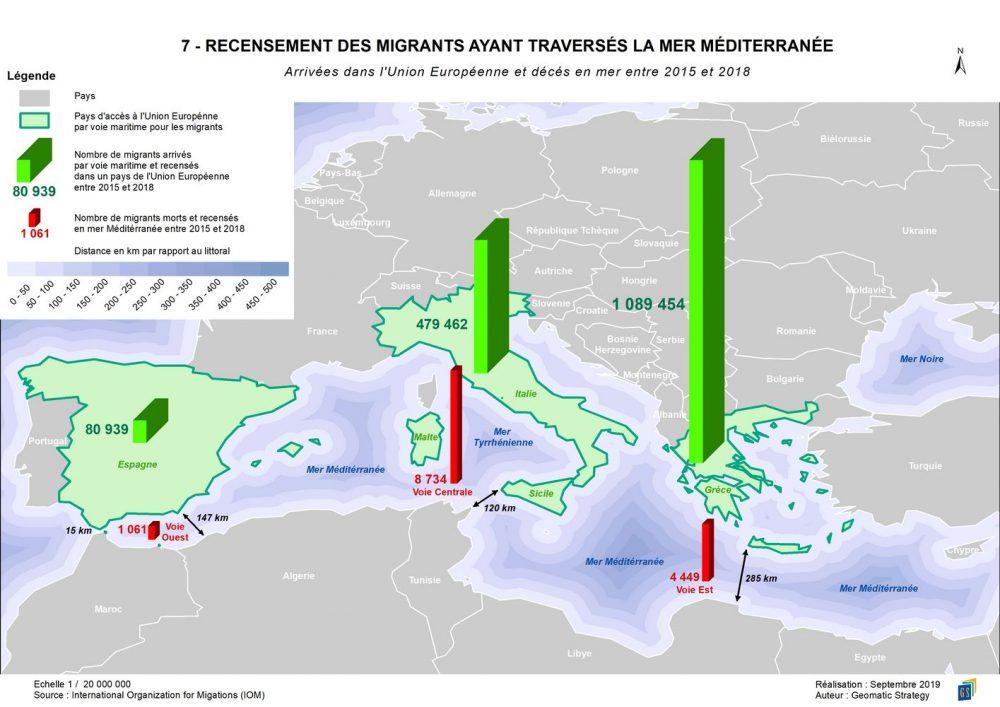 7 - RECENSEMENT DES MIGRANTS AYANT TRAVERSÉS LA MER MÉDITERRANÉE _ Arrivées dans l'Union Européenne et décès en mer entre 2015 et 2018