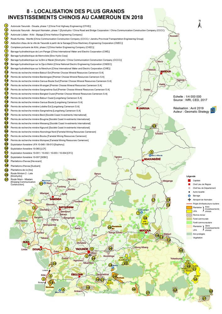 8 - LOCALISATION DES PLUS GRANDS INVESTISSEMENTS CHINOIS AU CAMEROUN EN 2018