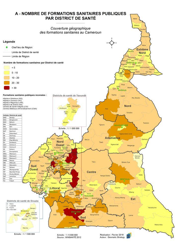 A - NOMBRE DE FORMATIONS SANITAIRES PUBLIQUES PAR DISTRICT DE SANTE _ Couverture géographique des formations sanitaires au Cameroun