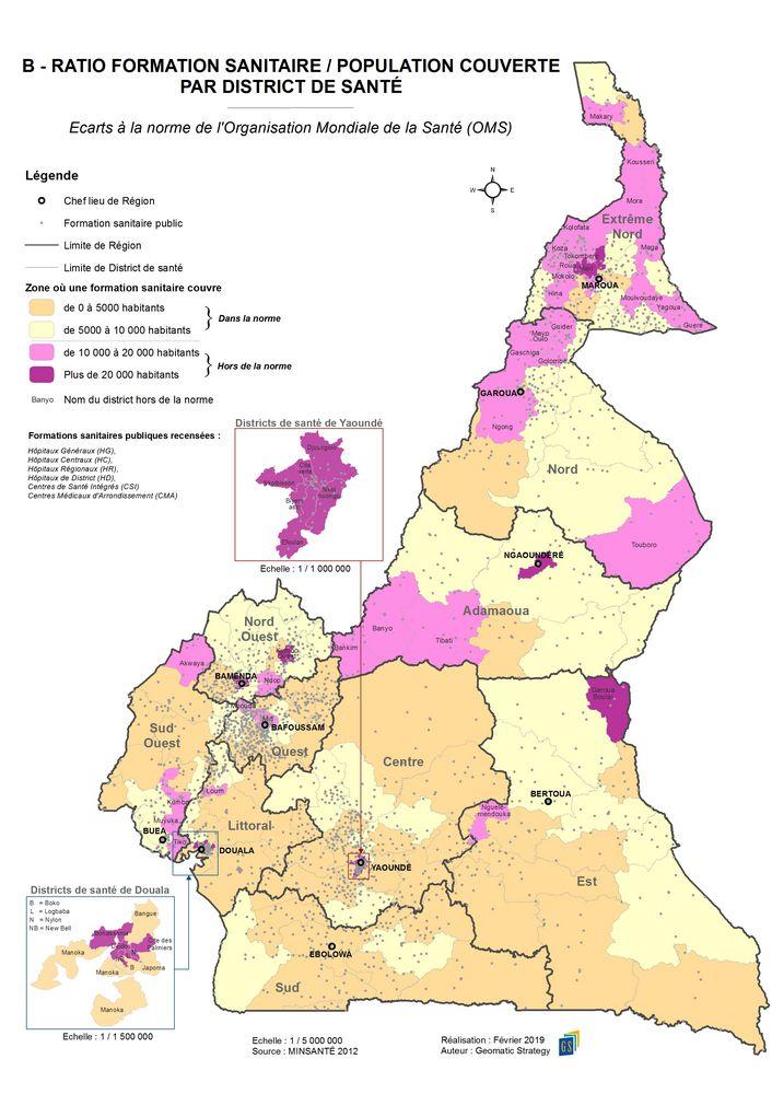 B - RATIO FORMATION SANITAIRE-POPULATION COUVERTE PAR DISTRICT DE SANTE