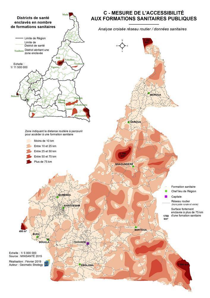 C - ACCESSIBILITE AUX FORMATIONS SANITAIRES _ Analyse croisée réseau routier données sanitaires