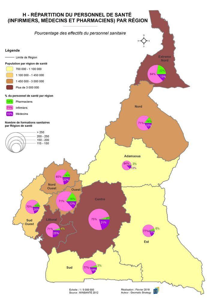 H - REPARTITION DU PERSONNEL DE SANTE PAR REGION _ Pourcentage des effectifs du personnel sanitaire