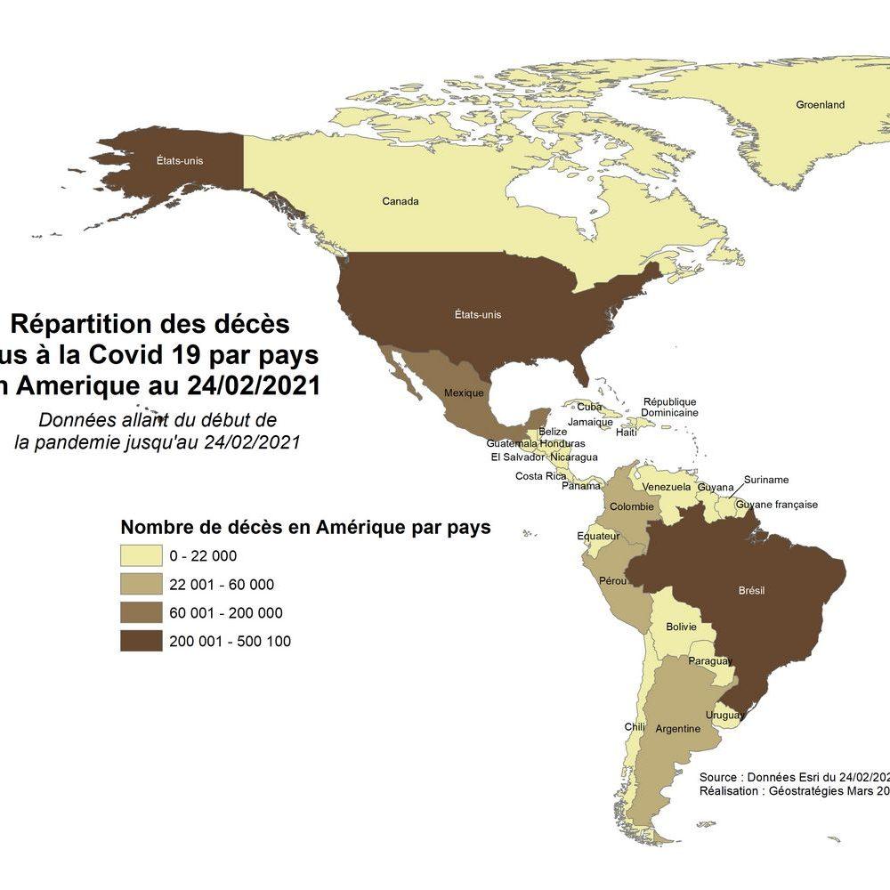 Répartition des décès dus à la covid 19 par pays en Amerique au 24_02_2021